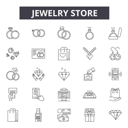 Jewelry store line icons, signs set, vector. Jewelry store outline concept illustration: jewelry,store,shop,fashion,degift Standard-Bild - 120896813