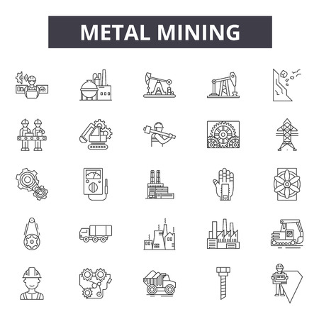 Metal mining line icons, signs set, vector. Metal mining outline concept illustration: metal,industry,equipment,power,mine