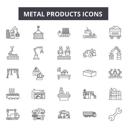 Metal products line icons, signs set, vector. Metal products outline concept illustration: metal,isolated,product,industry,iron,steel