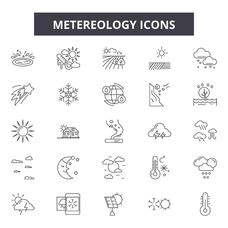 Metereology line icons, signs set, vector. Metereology outline concept illustration: flare,temperature,solar,hot,holiday,sun,sea,summer,sunshin,nature