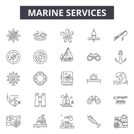 Marine services line icons, signs set, vector. Marine services outline concept illustration: marine,service,ship,transport,cargo,transportation