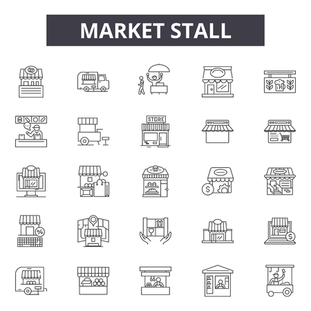 Market stall line icons, signs set, vector. Market stall outline concept illustration: stall,market,store,shop,business,kiosk,food