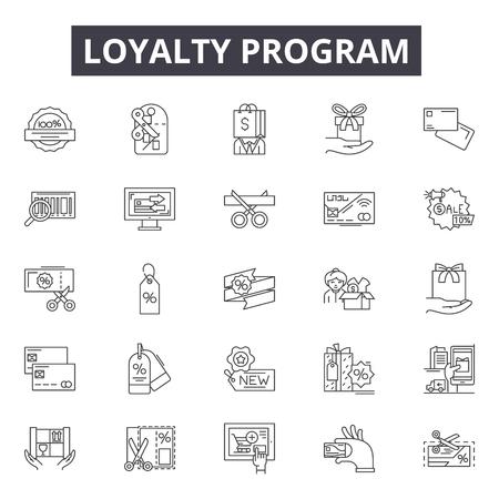 Icônes de ligne de programme de fidélité, ensemble de signes, vecteur. Illustration du concept de programme de fidélité : programme, fidélité, récompense, bonus, cadeau, marketing, avantages