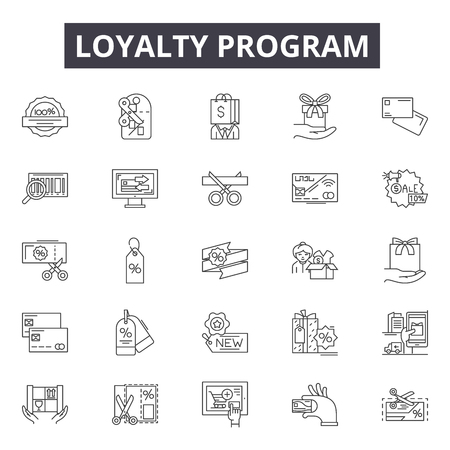 Loyalty program line icons, signs set, vector. Loyalty program outline concept illustration: program,loyalty,reward,bonus,gift,marketing,perks Stok Fotoğraf - 120896872