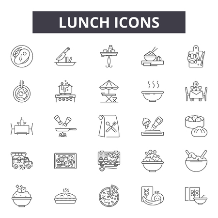 Icônes de ligne de déjeuner, ensemble de signes, vecteur. Illustration du concept de contour du déjeuner : déjeuner, nourriture, restaurant, dîner, cuisine, manger