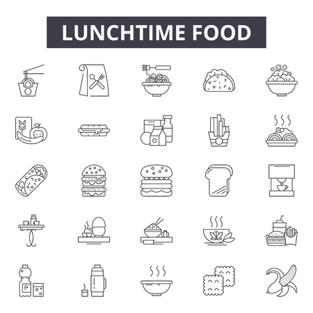 Lunchtime food line icons, signs set, vector. Lunchtime food outline concept illustration: lunchtime,lunch,food,meal,snack,container,dinner Illustration