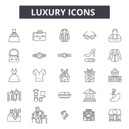 Luxury line icons, signs set, vector. Luxury outline concept illustration: luxury,deelement,jewelry,abstract 向量圖像