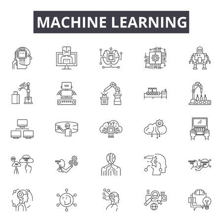 Machine learning system line icons, signs set, vector. Machine learning system outline concept illustration: system,data,technology,machine,intelligence,learning,science,information,business