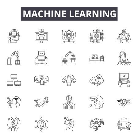 Machine learning systeemlijn pictogrammen, borden set, vector. Machine learning systeem overzicht concept illustratie: systeem, gegevens, technologie, machine, intelligentie, leren, wetenschap, informatie, zaken