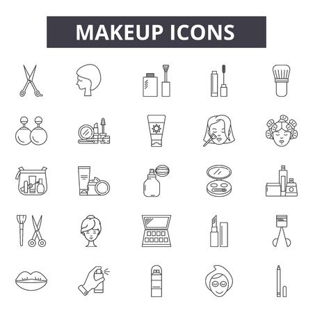 Icone della linea di trucco, set di segni, vettore. Illustrazione del concetto di contorno di trucco: trucco, bellezza, rossetto, cura, donna, profumo, pennello, cosmetico