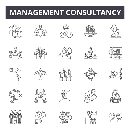 Management consultancy line icons, signs set, vector. Management consultancy outline concept illustration: business,management,consulting,communication,web,work