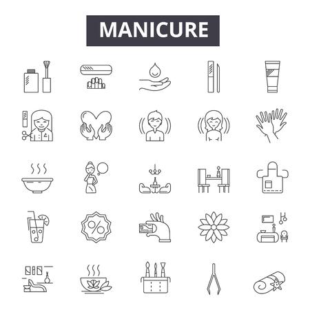 Iconos de línea de manicura, conjunto de signos, vector. Ilustración del concepto de esquema de manicura: manicura, belleza, cuidado, uñas, esmalte, salón, spa Ilustración de vector
