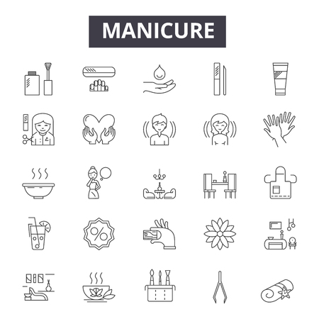 Manicure line icons, signs set, vector. Manicure outline concept illustration: manicure,beauty,care,nail,polish,salon,spa