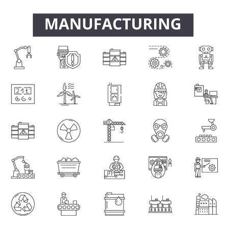 Manufacturing line icons, signs set, vector. Manufacturing outline concept illustration: industrial,factory,engineering,industry,robot,production,manufacture,manufacturing Illustration