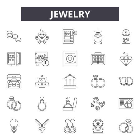 Ikony linii biżuterii, zestaw znaków, wektor. Ilustracja koncepcji zarysu biżuterii: biżuteria, prezent, moda, luksus, diament, dering, zestaw Ilustracje wektorowe