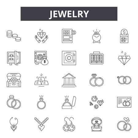 Jewelry line icons, signs set, vector. Jewelry outline concept illustration: jewelry,gift,fashion,luxury,diamond,dering,set