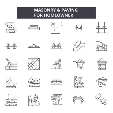 Masonry line icons, signs set, vector. Masonry outline concept illustration: masonry,construction,brick,work,cement,wall,design Illustration