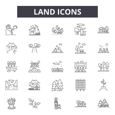 Land line icons, signs set, vector. Land outline concept illustration: land,landscape,farm,field