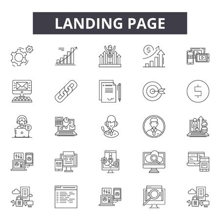 Landing page line icons, signs set, vector. Landing page outline concept illustration: page,web,template,landing,internet,business,development,technology Illustration