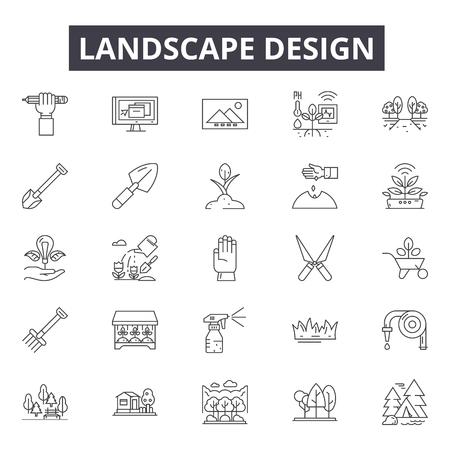Iconos de línea de diseño de paisaje, conjunto de signos, vector. Ilustración del concepto de esquema de diseño de paisaje: paisaje, árbol, planta, naturaleza Ilustración de vector