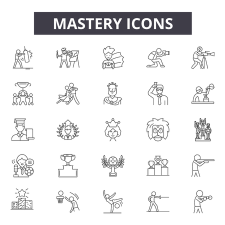 Mastery line icons, signs set, vector. Mastery outline concept illustration: mastery,business,management,resource,skill,development Illustration