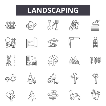Landscaping line icons, signs set, vector. Landscaping outline concept illustration: landscaping,garden,gardening,plant,detree Stockfoto - 125064643