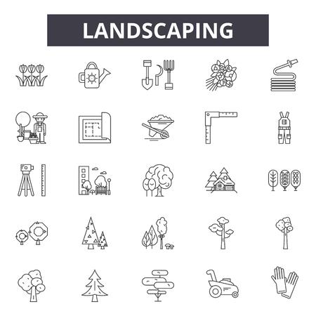 Landscaping line icons, signs set, vector. Landscaping outline concept illustration: landscaping,garden,gardening,plant,detree