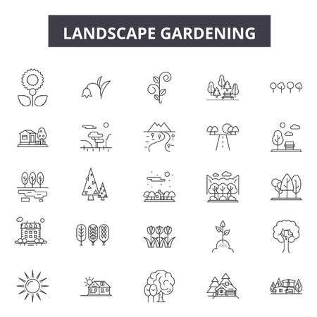 Lanscape gardening line icons, signs set, vector. Lanscape gardening outline concept illustration: deplant,garden,background,tree,landscape,nature