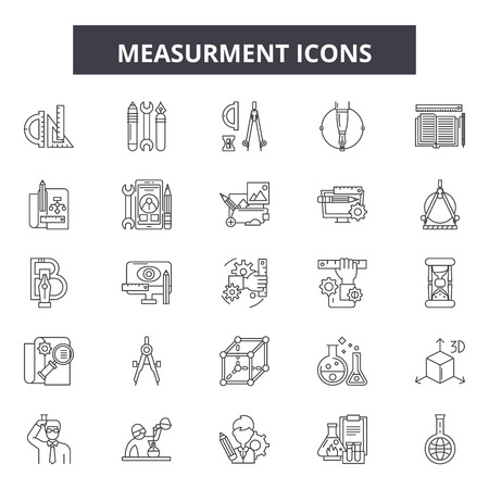 Measurment line icons, signs set, vector. Measurment outline concept illustration: measurement,measure,object,element,design Ilustracja