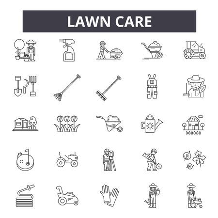Icônes de ligne d'entretien des pelouses, ensemble de signes, vecteur. Illustration de concept de contour d'entretien de la pelouse : soins, jardinage, pelouse, plante, nature, jardin, conception