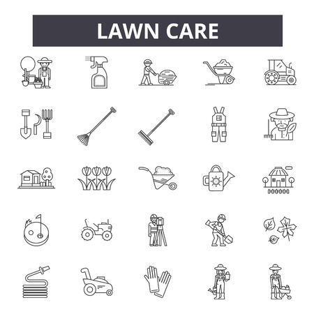 Lawn care line icons, signs set, vector. Lawn care outline concept illustration: care,gardening,lawn,plant,nature,garden,design Stockfoto - 125064647