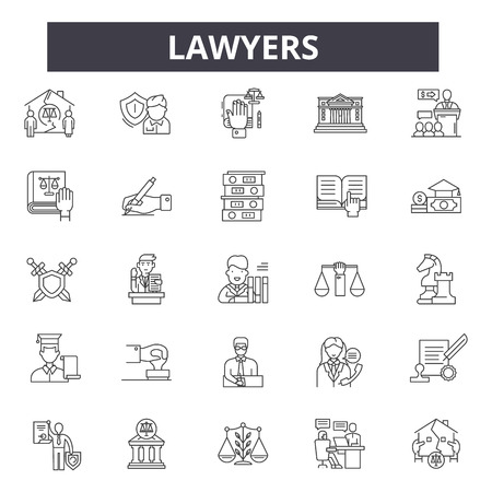 Lawyers line icons, signs set, vector. Lawyers outline concept illustration: lawyer,law,justice,court,judge,legal,gavel