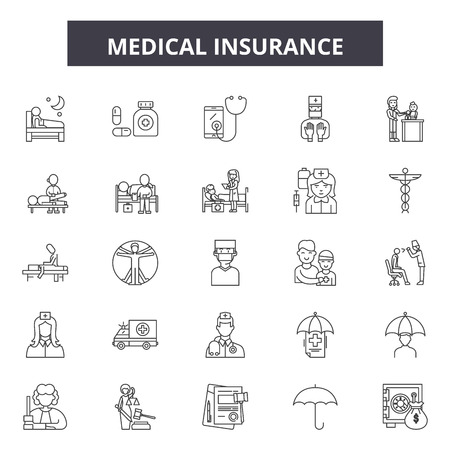 Medical insurance line icons, signs set, vector. Medical insurance outline concept illustration: insurance,medical,care,health,medicine,cross Banque d'images - 125064650