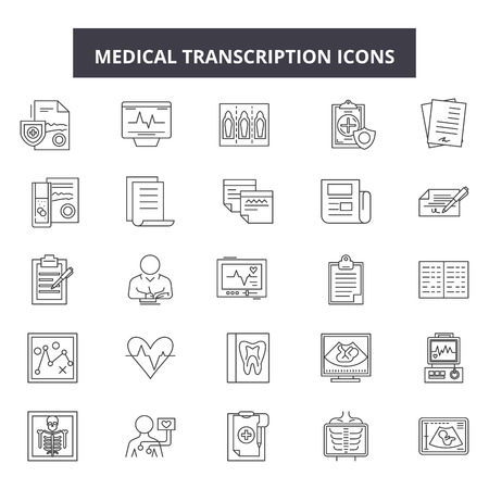 Medical transcription line icons, signs set, vector. Medical transcription outline concept illustration: medicine,paperclip,transcript,information,medical,report,analysis,diagnostic,document