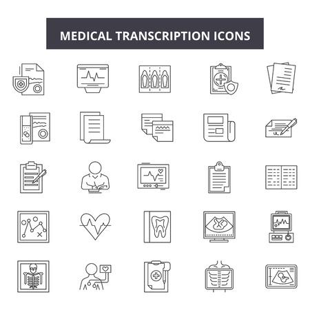 Medical transcription line icons, signs set, vector. Medical transcription outline concept illustration: medicine,paperclip,transcript,information,medical,report,analysis,diagnostic,document
