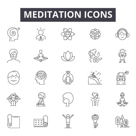 Meditation line icons, signs set, vector. Meditation outline concept illustration: yoga,meditation,health,relaxation,zen,wellness,relax Archivio Fotografico - 125064654