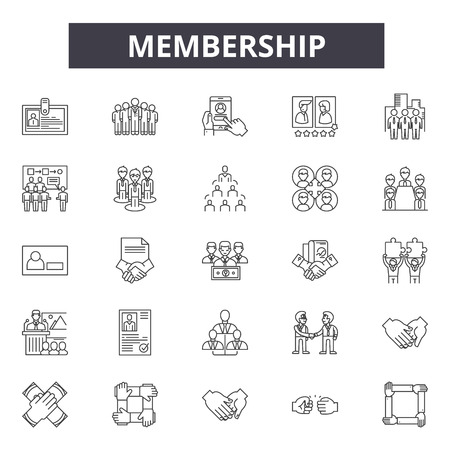 Membership line icons, signs set, vector. Membership outline concept illustration: membership,card,id,person,identity,flat