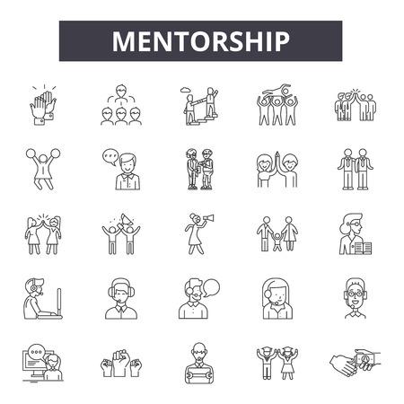 Mentorship line icons, signs set, vector. Mentorship outline concept illustration: mentorship,business,management,career,employee,development,human,team