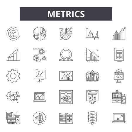 Metrics line icons, signs set, vector. Metrics outline concept illustration: web,graph,business,chart,metrics,concept,metric Illustration