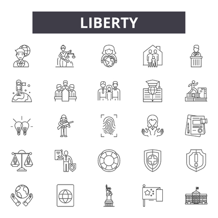Liberty line icons, signs set, vector. Liberty outline concept illustration: liberty,usa,freedom,statue,monument,america Çizim
