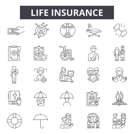 Life insurance line icons, signs set, vector. Life insurance outline concept illustration: family,protection,life,health,insurance,care,safety Banque d'images - 125064771