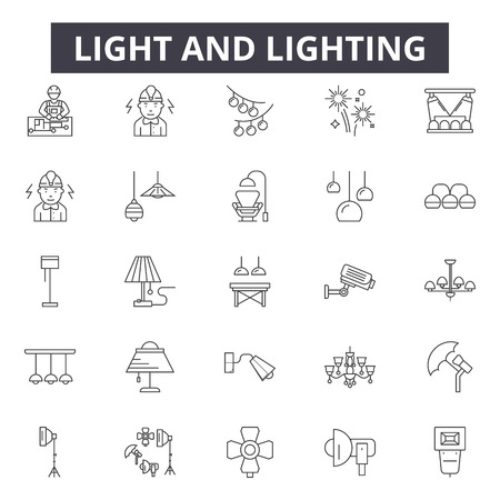 Light and lighting line icons, signs set, vector. Light and lighting outline concept illustration: light,bulb,lamp,isolated,bright,electric