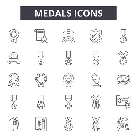Medals line icons, signs set, vector. Medals outline concept illustration: medal,achievement,award,first,competition Stock Illustratie
