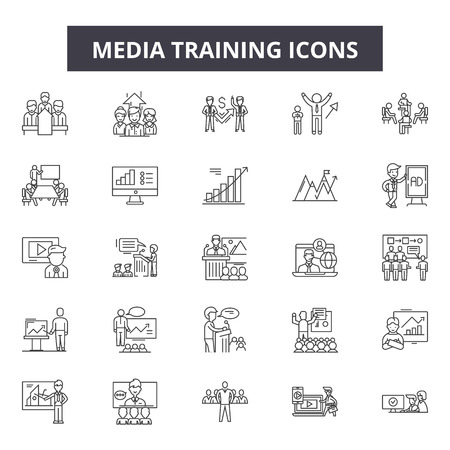 Media training line icons, signs set, vector. Media training outline concept illustration: media,training,communication,computer,internet,education,technology Archivio Fotografico - 125064778