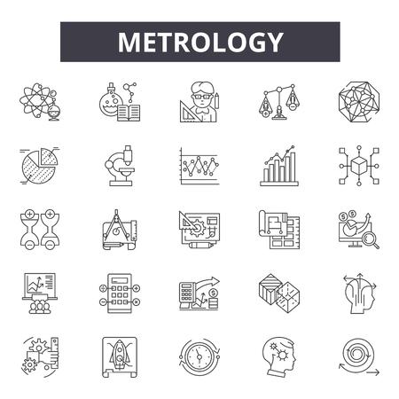 Metrology line icons, signs set, vector. Metrology outline concept illustration: metrology,detechnology,equipment,meter