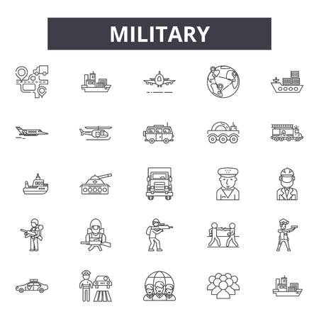 Militärische Liniensymbole, Zeichensatz, Vektor. Militärische Umrisskonzeptillustration: Militär, Armee, Krieg, entwaffnet Vektorgrafik