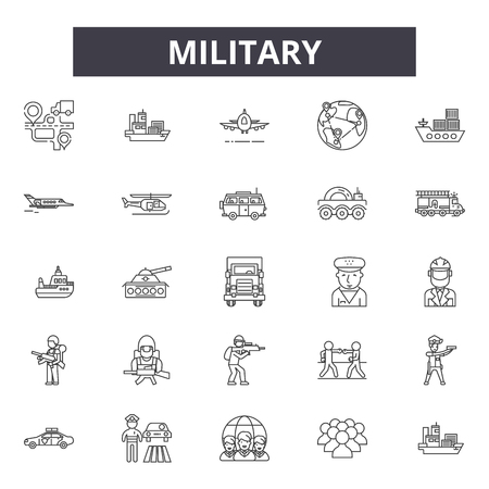 Military line icons, signs set, vector. Military outline concept illustration: military,army,war,dearmed