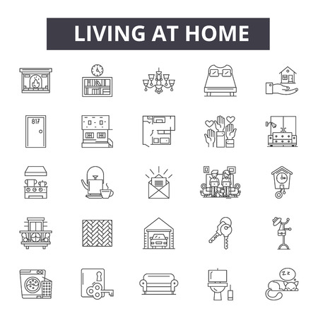 Living at home line icons, signs set, vector. Living at home outline concept illustration: home,house,building,estate,residential,residence,design