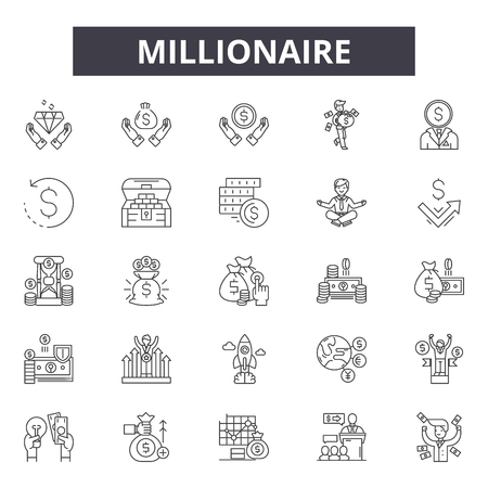 Millionaire line icons, signs set, vector. Millionaire outline concept illustration: millionaire,money,rich,concept,business,isolated