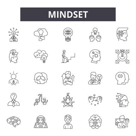 Mindset line icons, signs set, vector. Mindset outline concept illustration: mindbrain,concept,business,mind,creative,abstract,design Illustration